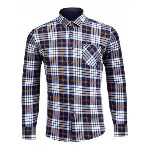 Long Sleeve Flocking Checked Pocket Shirt