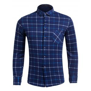 Flocking Long Sleeve Plaid Flannel Shirt