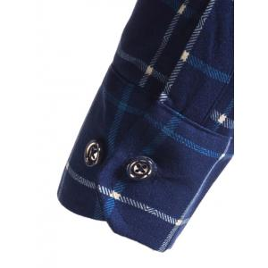Flocking Long Sleeve Plaid Flannel Shirt -
