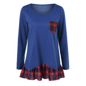 Plaid Print Pocket Falbala Blouse
