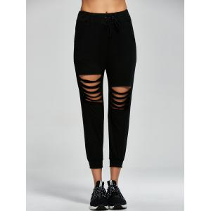 Destroyed Drawstring Capri Sports Pants