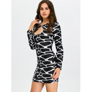 Leopard Cut Out Long Sleeve Bodycon Dress -