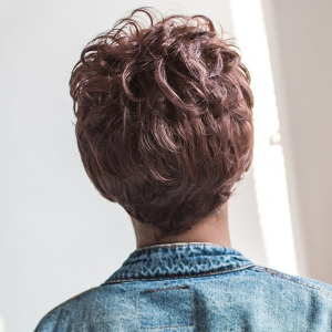 Short Full Bang Curly Capless Synthetic Wig -