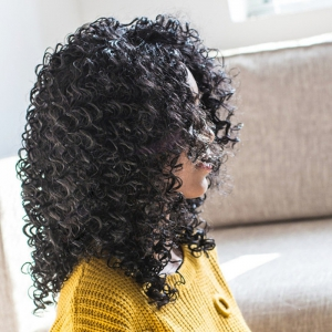Medium Afro Curly Capless Synthetic Wig - BLACK