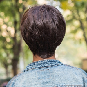 Color Mixed Short Side Bang Straight Capless Synthetic Wig -