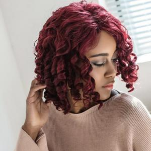 Short Side Parting Curly Capless Synthetic Wig -