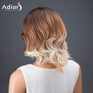Adiors Hair Multi Color Medium Side Parting Wavy Synthetic Wig - WHITE AND BROWN