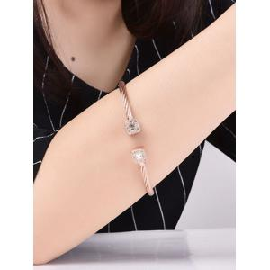 Twisted Cable Rhinestone Cuff Bracelet -