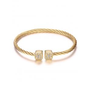 Twisted Cable Rhinestone Cuff Bracelet