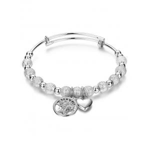 Silver Dull Polished Beads Heart Charm Bracelet