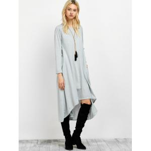 Asymmetric Casual Long Sleeve Tea Length Dress -