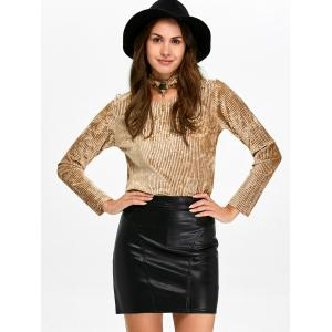 Keyhole Pleated Velvet Blouse and Sheath Leather Skirt -