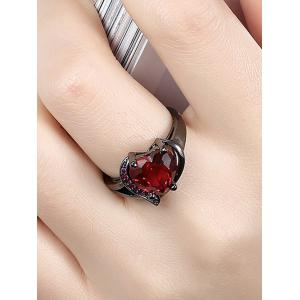 Rhinestone Heart Shape Ring - RED 7