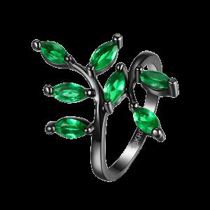 Artificial Gemstone Leaf Finger Ring