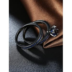 2PCS Rhinestone Couple Finger Rings - BLUE 7