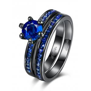 2PCS Rhinestone Couple Finger Rings