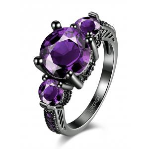 Vintage Artificial Gemstone Ring - Purple - 6