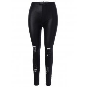 Ankle Length Ripped Leggings - Black - S