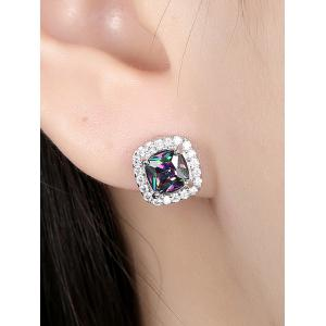 Faux Diamond Stud Earrings -