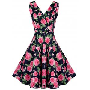 Vintage V Neck Ornate Floral Print Dress