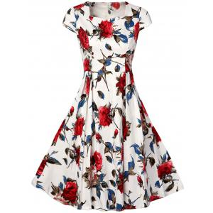 Vintage Rose Print High Waist A Line Dress