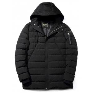 Rib Cuff Zip Pocket Hooded Padded Coat -