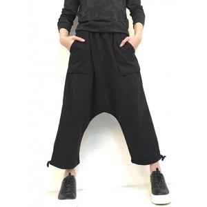Pocket Drop Crotch Wide Leg Ninth Pants