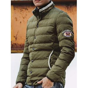Embroidered Patch Snap Front Padded Jacket -