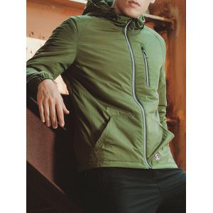 Zippered Elastic Cuff Hooded Padded Jacket -