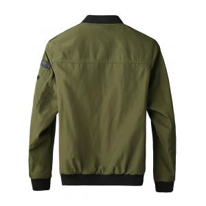 Patched Pockets Stand Collar Zippered Jacket -