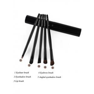 5 Pcs Eye Makeup Brushes Kit + Foundation Brush + Curved Blush Brush + Air Puffs - BLACK
