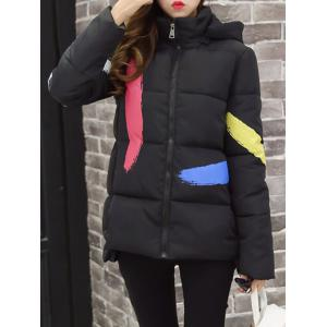 Splatter Paint Hooded Padded Coat