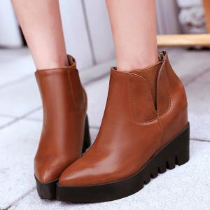 Hidden Wedge Elastic Band Ankle Boots -
