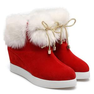 Hidden Wedge Suede Faux Fur Short Boots -