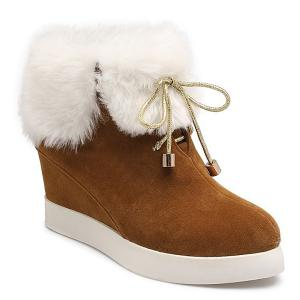 Hidden Wedge Suede Faux Fur Short Boots - Brown - 38