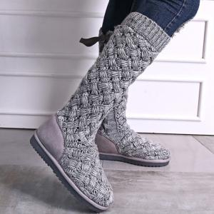 Flat Heel Knitting Tie Up Boots -