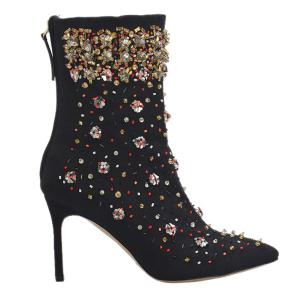 Stiletto Heel Rhinestones Zipper Short Boots -