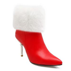Heeled Fold Down Pointed Toe Boots - Red - 37