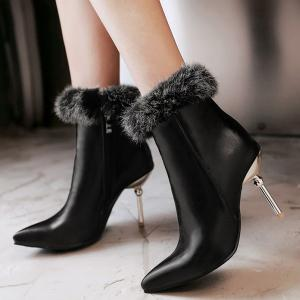 Pointed Toe Faux Fur Top Ankle Boots -