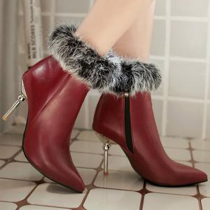 Pointed Toe Faux Fur Top Ankle Boots - WINE RED 40