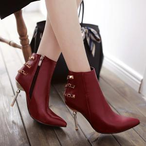 Rivet Chains Pointed Toe Ankle Boots -