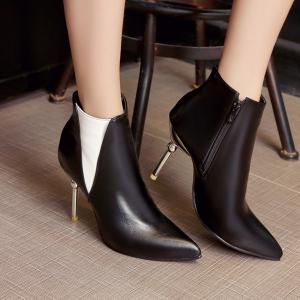Pointed Toe Color Block Ankle Boots -