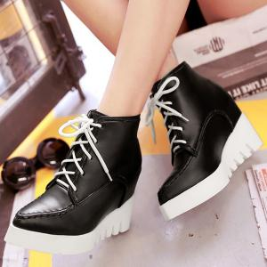 Pointed Toe Lace Up Wedge Heel Boots - BLACK 39