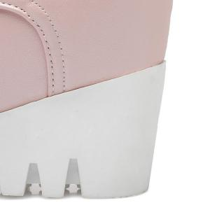 Pointed Toe Lace Up Wedge Heel Boots - PINK 38