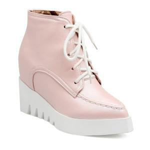 Pointed Toe Lace Up Wedge Heel Boots - Pink - 38