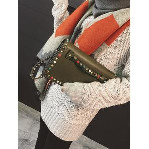 PU Leather Beaded Rivet Clutch Bag -