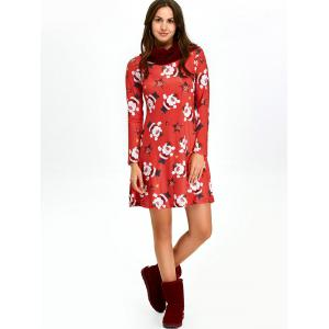 Christmas Santa Claus Skater Dress with Long Sleeves - RED L