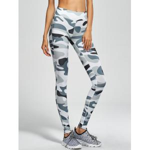Camouflage High Waist Sport Pants - Army Green Camouflage - S