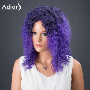 Adiors Hair Medium Colormix Afro Curly Synthetic Wig - BLUE/BLACK