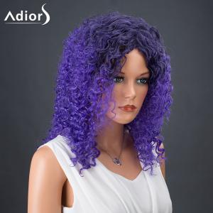 Adiors Hair Medium Colormix Afro Curly Synthetic Wig - BLUE AND BLACK